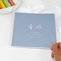 Personalised 40th Birthday Memory Book Or Album, Dark Blue/Blue/Grey