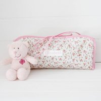 Oilcloth Personalised Changing Mat, Pink Floral/Pink/Pale Blue