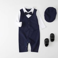 Baby Boy Wedding Christening All In One Outfit With Hat, Blue