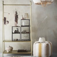 Brass Clothes Rail With A Double Shelf