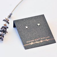 Silver Star Stud Earrings, Silver