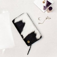 Ladies Black And White Cowhide Leather Purse