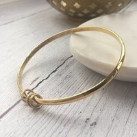 9ct Solid Yellow Gold Bangle With Rings, Gold