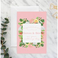 Personalised Modern Floral Wedding A5 Card
