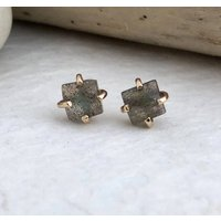 Labradorite Square Cut Stud Earrings