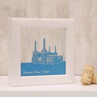 Battersea Power Station Mini Papercut, Gold/Emerald/Green
