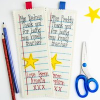Personalised Embroidered School Teacher Gift Bookmark, Blue/Red