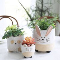 Pack Of Three Ceramic Animal Succulent Plant Pots