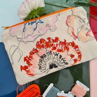 Nature Inspired Floral Zippy Pouch Bag: Poppy