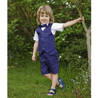 Boys Christening Wedding 6pc Navy Linen Blend Suit