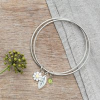 Daisy And Leaf Double Bangle In Silver And 18ct Gold, Silver