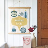 Personalised Christmas Wall Hanging | Retro Baubles