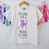 'Magical Big Sister' New Baby Announcement T Shirt, White/Black/Grey