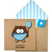 Handmade Congratulations It's A Boy Owl Card