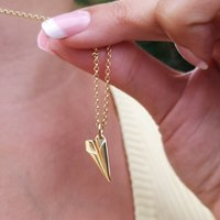 Personalised Gold Plated Paper Plane Necklace, Gold