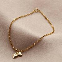 9ct Gold Double Heart Charm Bracelet, Gold