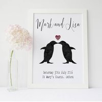 Personalised Penguins Wedding Print