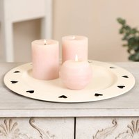 Country Cream Cut Out Heart Candle Plate