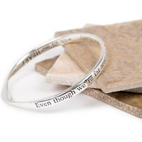 Even Though We're Far Apart Message Bangle, Silver/Yellow/Gold