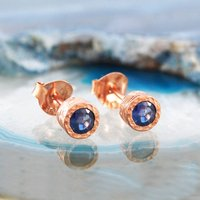 Sapphire Birthstone Rose Gold Stud Earrings, Gold