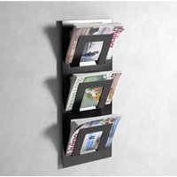 Wall Mounted Three Tier Magazine Rack, Black/White/Silver