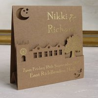 Bespoke Laser Cut Wedding Venue Invitation, White/Grey/Smoke