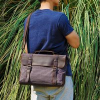 Canvas Messenger Shoulder Bag Personalised, Green/Khaki/Grey