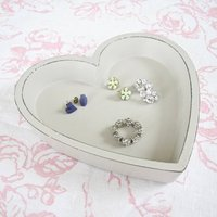 Vintage Style Heart Jewellery / Coin Tray, Cream/Grey