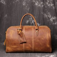 Genuine Leather Worn Look Weekend Bag