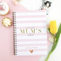 Personalised Mother's Day Notebook 'Pink stripes'