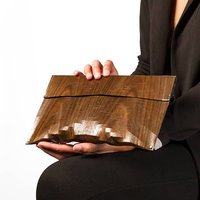 Wooden Clutch Purse, Black/Brown/Silver