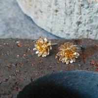 Gilded Silver Golden Citrine Daisy Earrings, Silver