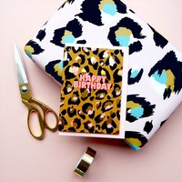 Happy Birthday Leopard Print Gold Foiled Card
