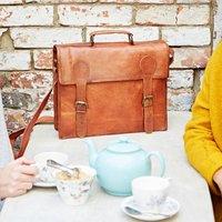 Personalised Leather Satchel Messenger Bag