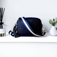 Navy Leather Handbag With Interchangeable Strap