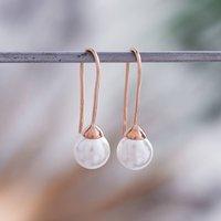 Rose Gold Pearl Earrings, Gold