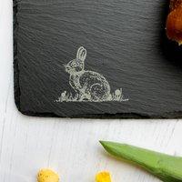 Spring Rabbit Long Slate Serving Board