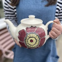 Personalised Hand Painted Clematis Flower Teapot
