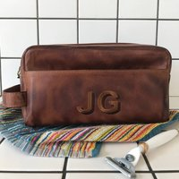 Personalised Leather Wash Bag With Embroidered Initials