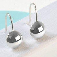 Sterling Silver Round Drop Earrings, Silver
