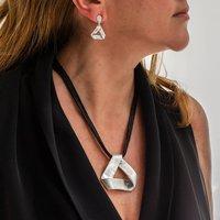 Silver Leather Necklace And Earring Jewellery Set, Silver