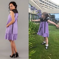 Soft Loose Dress Lulu With Black Lace, Lilac/Pearl/Pink Pearl