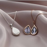 Personalised Small Droplet Locket Necklace