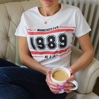 Personalised Place And Year Of Birth Lady Fit T Shirt