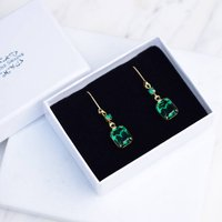 Emerald Green And Gold Earrings, Gold