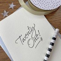 'Twenty One' Letterpress Card