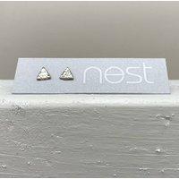 Sterling Silver Mini Triangle Stud Earrings, Silver