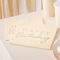 Peach And Gold Happy Birthday Ditsy Dot Printed Napkins
