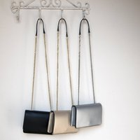 Elegant Leather Evening Bag With Chain Strap