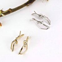Knot Ear Climber Jacket Earrings, Gold/Silver
